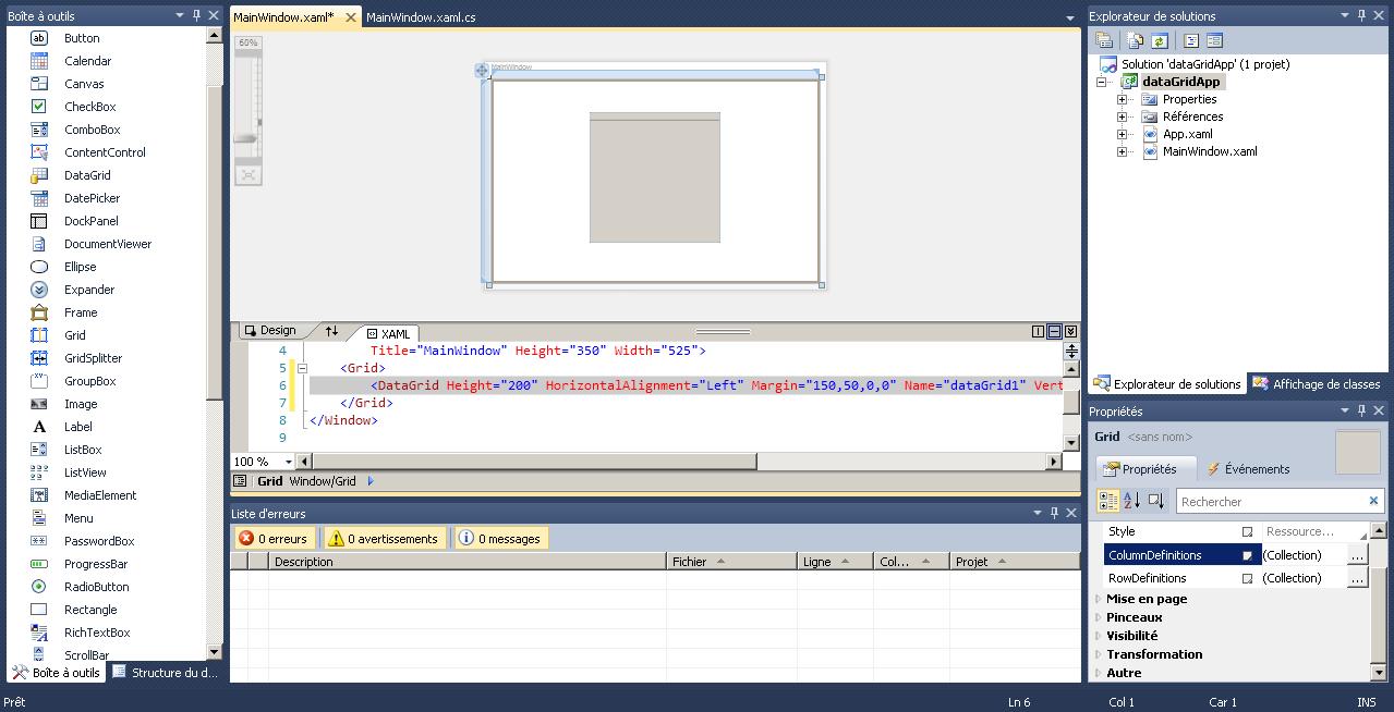 Insérer des données (par le code) dans un DataGrid WPF