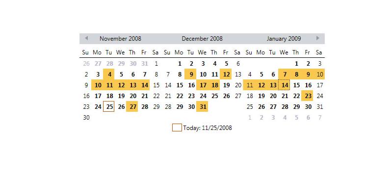 Récupérer la ou les date(s) selectionnée(s) dans un Calendrier WPF
