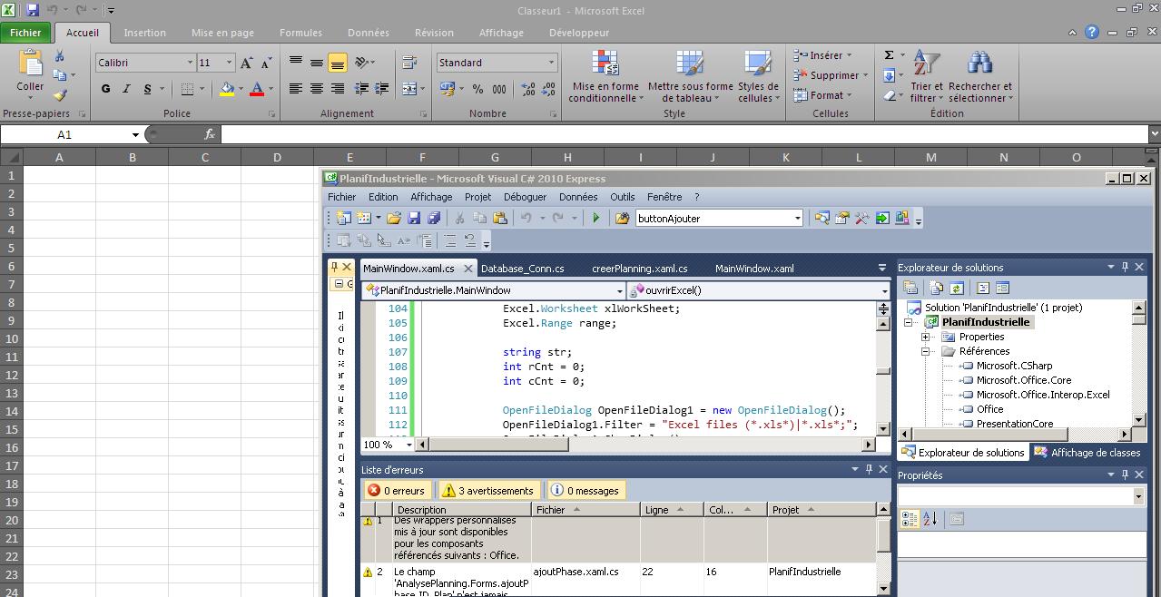 Ouvrir et lire un fichier Excel à partir d'une application C# WPF
