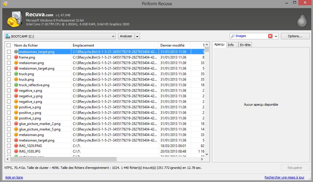 Récupérer les fichiers supprimés après un formatage avec Recuva