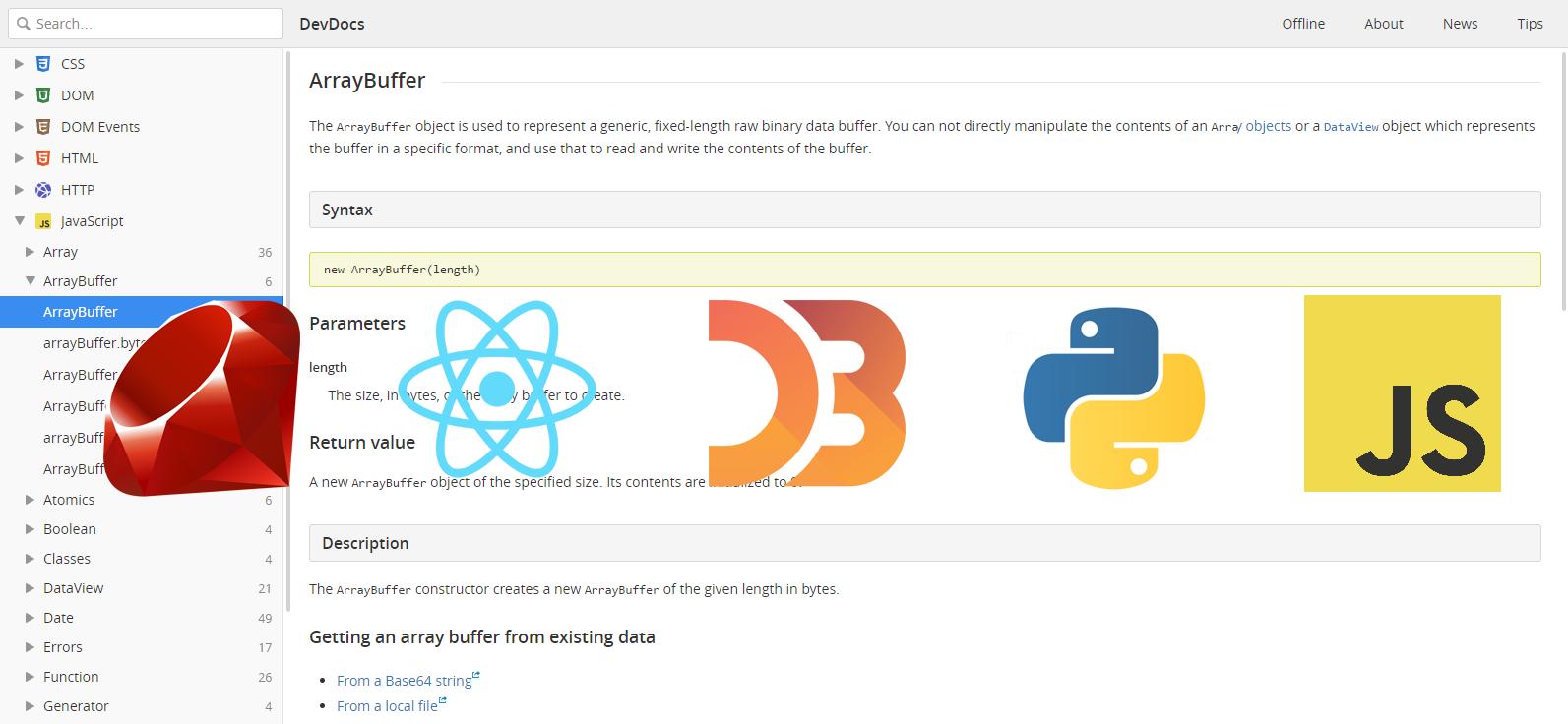 DevDocs pour regrouper et unifier toutes les dev docs de vos APIs et langages favoris